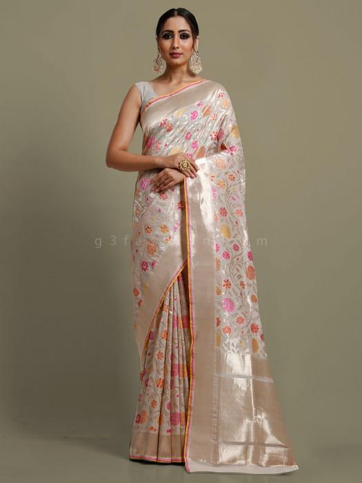 Ceremony Function Beige Banarasi Silk Saree
