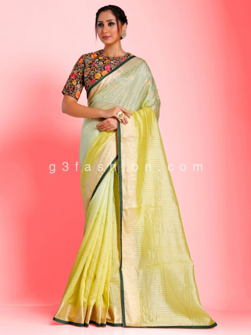 Chanderi Tussar Silk Pista Green Shaded Saree With Readymade Blouse