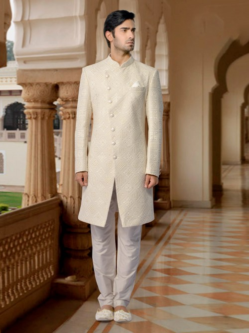 Stunning Cream Indo Western For Wedding