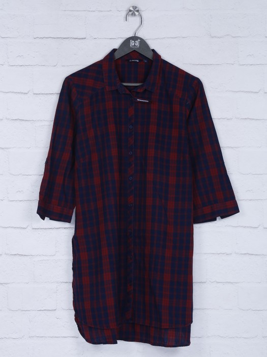 Checks Red And Navy Coor Top For Casual