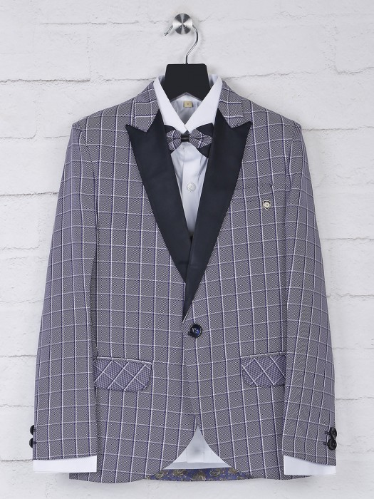 Checks Violet Terry Rayon Tuxedo Suit