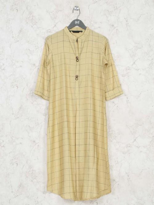 Checks Yellow Cotton Casual Kurti