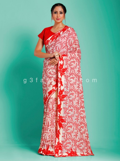 Chiffon Jaal Work Red And White Party Designer Saree With Readymade Blouse