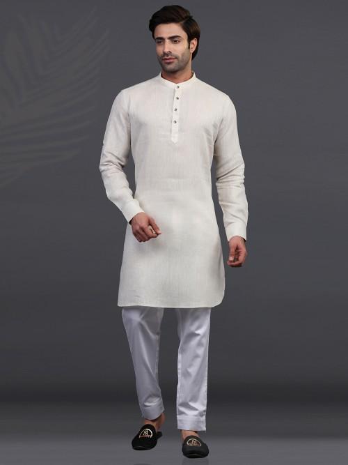 Chinese Collar Cream Linen Kurta Pajama