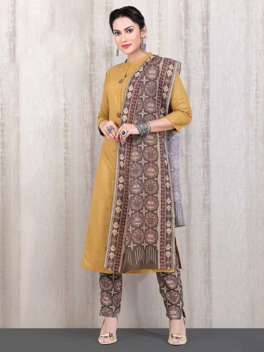 Chinese Neck Yellow Cotton Straight Cut Punjabi Pant Suit