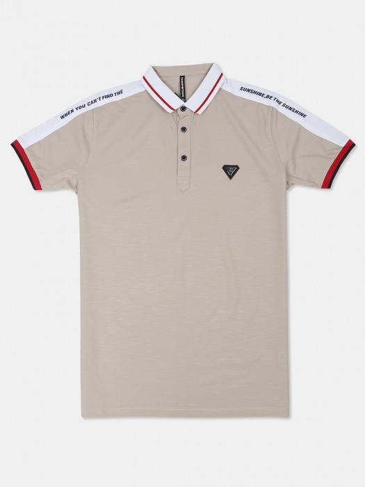 Chopstick Beige Casual Wear Solid T-shirt