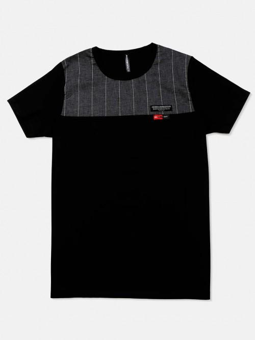 Chopstick Black Solid Cotton T-shirt