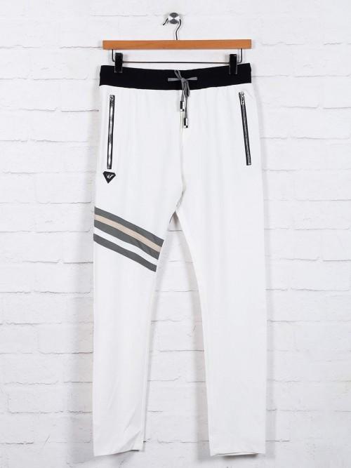 Chopstick Cotton White Solid Track Pant