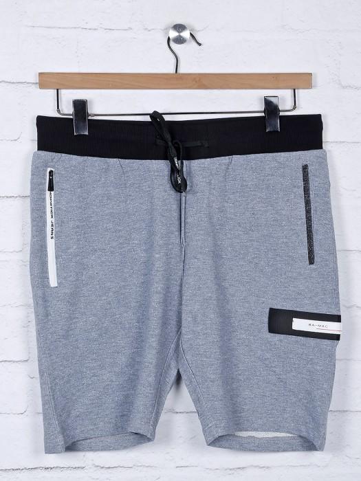 Chopstick Grey Cotton Slim Fit Shorts