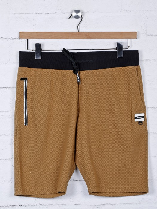Chopstick Solid Brown Casual Wear Shorts