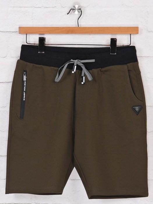 Chopstick Solid Olive Cotton Shorts