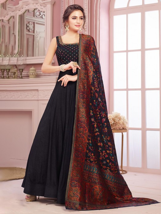 Classic Black Anarkali Salwar Suit In Raw Silk