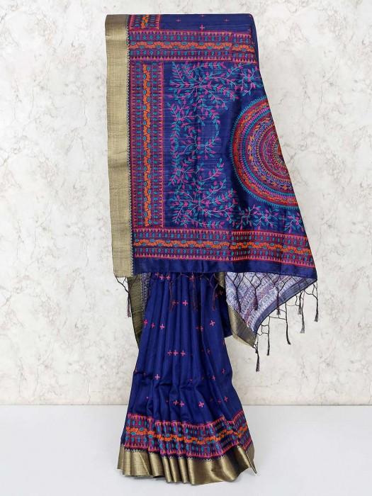 Classic Blue Cotton Saree