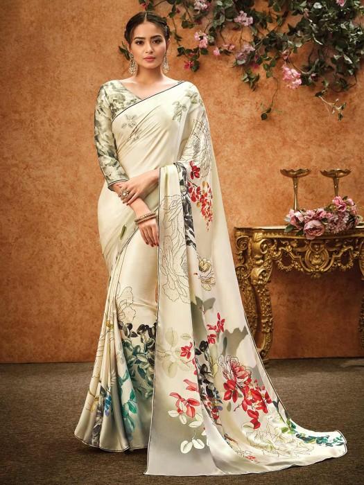 Classic Cream Colorfull Floral Printed Saree