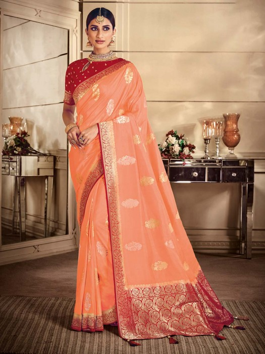 Classic Peach Saree In Semi Silk