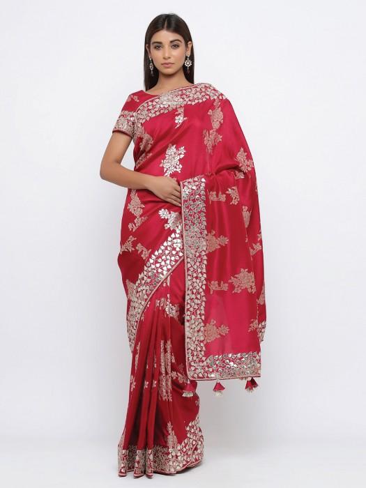 Classic Red Wedding Wear Silk Sari