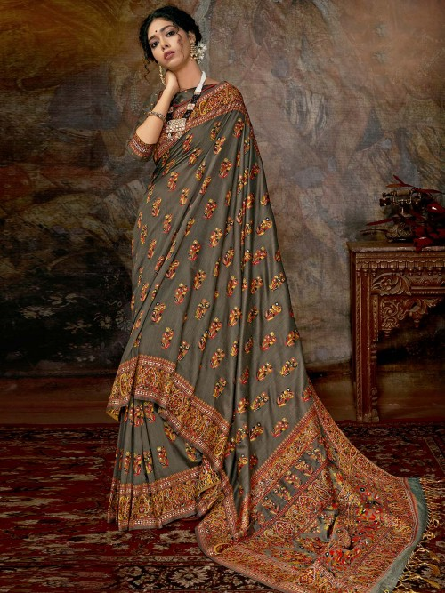Classy Grey Banarasi Silk Saree For Wedding