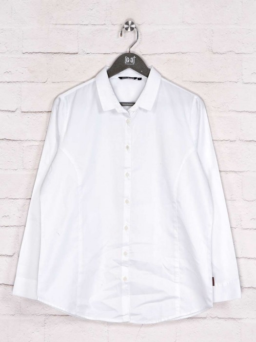 Collar Neck Solid White Cotton Shirt