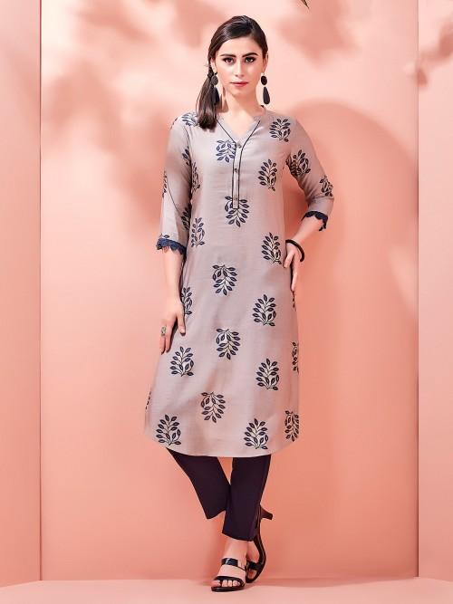 Collar Neckline Kurti In Cotton With Print