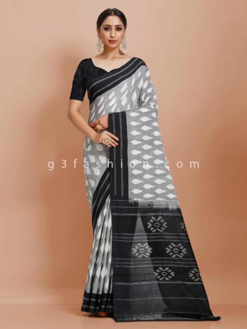 Contrast Black And Grey Pure Mul Cotton Printed Festive Saree