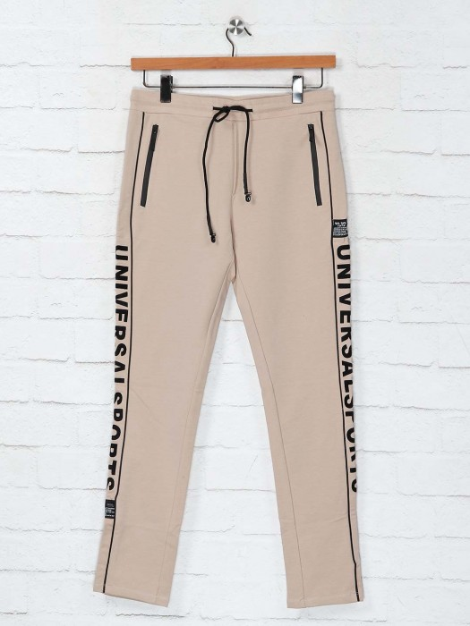 Cookyss Beige Slim Fit Cotton Track Pant