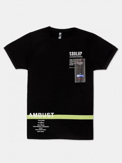Cookyss Black Printed Slim Fit T-shirt