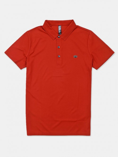 Cookyss Orange Solid Cotton Slim Fit Polo T-shirt