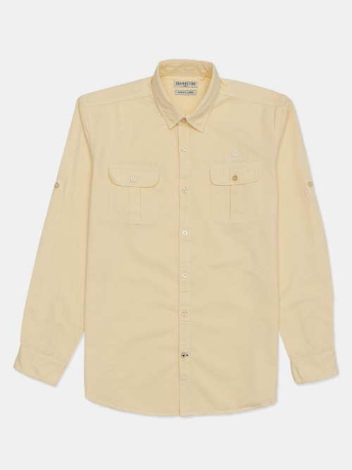 Copperstone Yellow Solid Cotton Shirt
