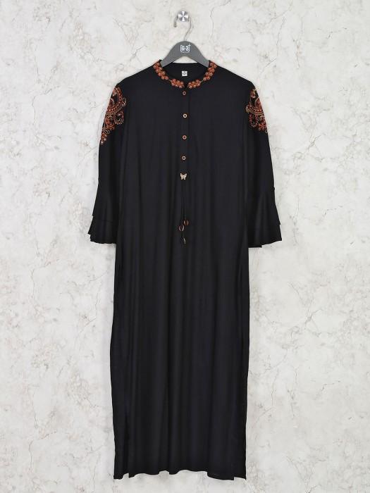Cotton Black Chinese Neck Kurti