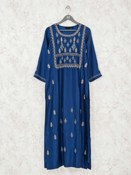 Cotton Blue Festive Wear Long Kurti
