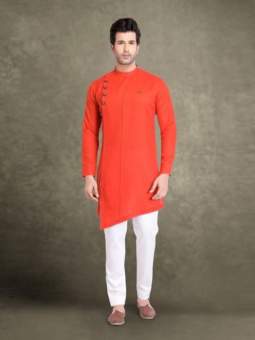 Cotton Bright Orange Festive Full Sleeves Kurta Suit