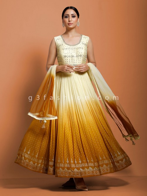Cotton Cream Wedding Floor Length Anarkali Suit