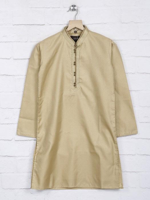 Cotton Fabric Beige Boys Kurta Suit