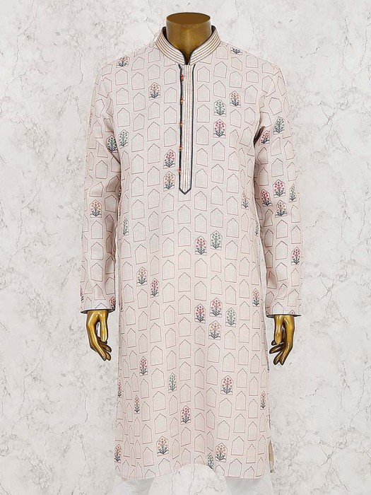 Cotton Fabric Cream Hued Printed Kurta Suit