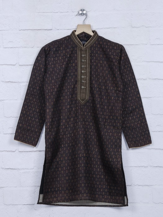 Cotton Fabric Festive Brown Kurta Suit