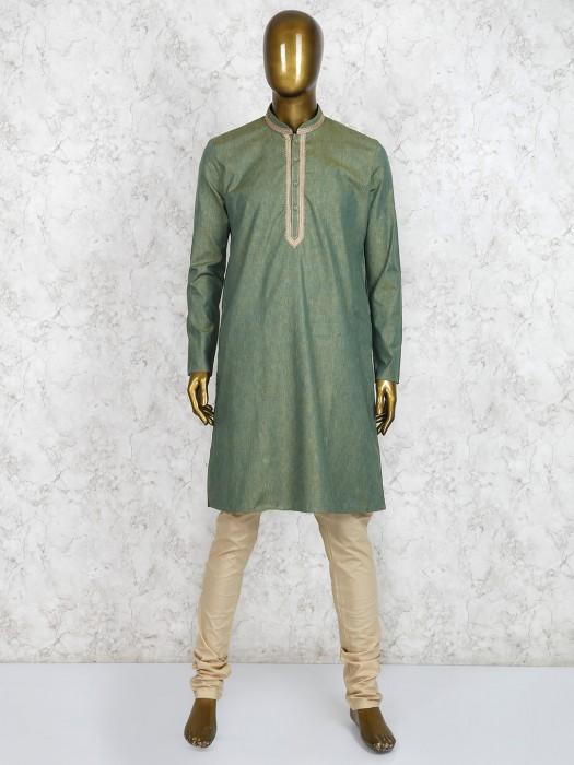 Cotton Fabric Green Hue Kurta Suit