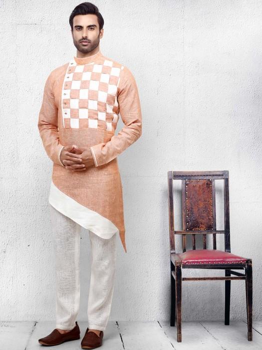 Cotton Fabric Peach Cut Style Kurta Suit