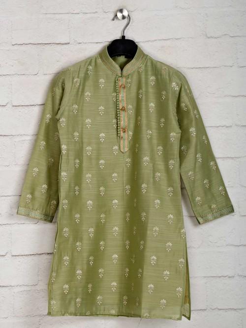 Cotton Green Festive Wear Kurta With Churidar