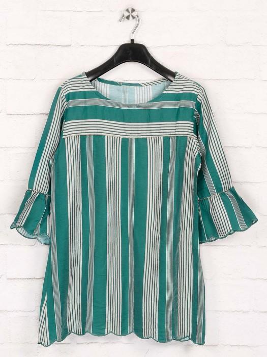Cotton Green Stripe Top For Pretty Womens