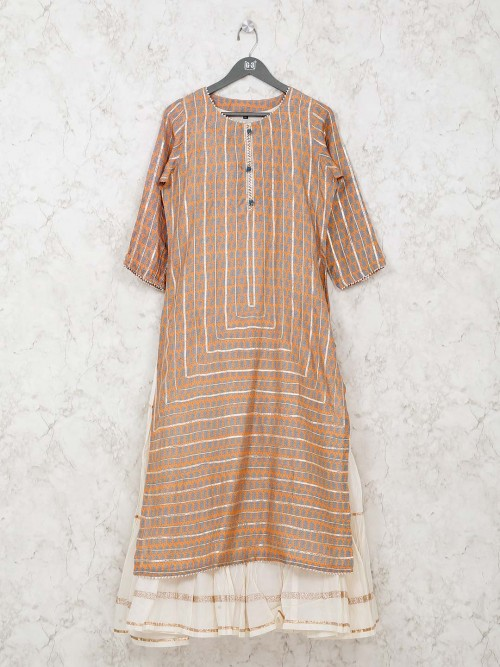 Cotton Kurti In Printed Orange Double Layer Style