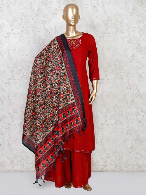 Cotton Palazzo Suit The Maroon Color