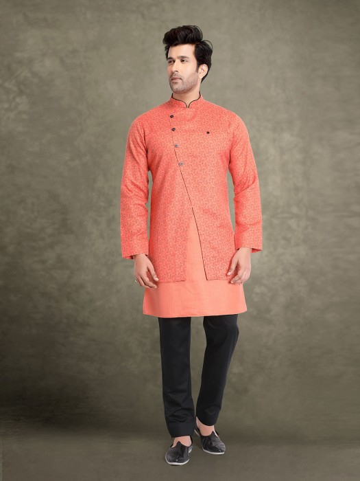 Cotton Peach Printed Jacket Style Stand Collar Kurta Suit