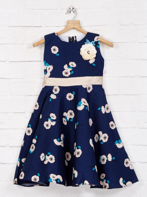 Cotton Printed Navy Blue Frock
