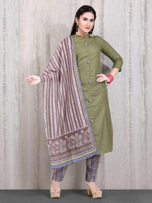 Cotton Punjabi Olive Printed Straight Cut Suit