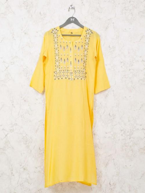 Cotton Round Neck Yellow Kurti