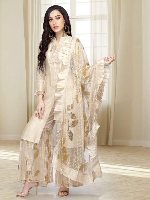 Cotton Silk Beige Hue Punjabi Sharara Suit