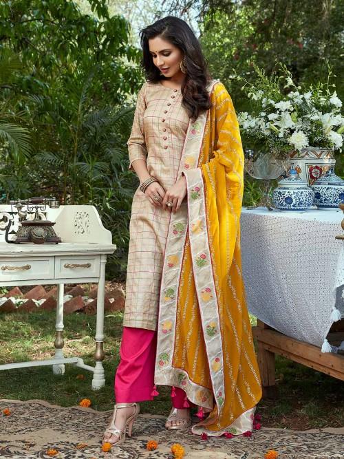Cotton Silk Beige Palazzo Suit For Festivals