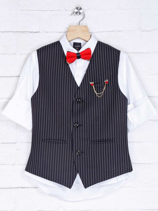 Cotton Silk Black And White Stripe Waistcoat Set