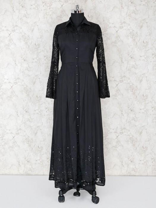 Cotton Silk Black Long Salwar Suit