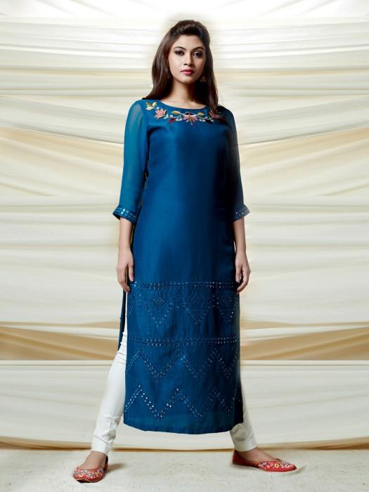 Cotton Silk Blue Festive Kurti